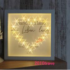Geschenk zur Hochzeit Brautpaar Herze beleuchtet mit LED Bilderrahmen Leben lang
