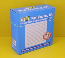 HPM R621/6D - 150mm Exhaust Fan External Wall Ducting Kit Louvred Grille White