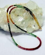 RUBIN SAPHIR SMARAGD Kette edelsteinkette Regenbogenkette Halskette Bunt - farbe