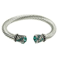 Crystal Tip Bracelet Twisted Metal Cuff Silver Teal Pave Stone Chunky Cable Link