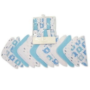Baby Boy Blue White Wash Cloths Towel Flannel Wipes Bath Shower 12 Pack