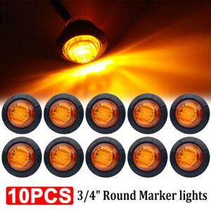 """10X 3/4"""" Amber Yellow Small Round Side Marker lights 3LED Button lamps lorry 12V"""