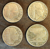 ITALY LOT OF FOUR WWII-ERA 1940-1942 COINS - 20 & 50 CENTESIMI - KM# 75b & 76b