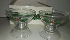 Vtg 1981 Avon Holiday Hostess Collection Set of 2 Candlesticks Holly & Berries