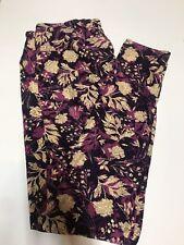 LulaRoe TC Purple With Tan Leaves Floral Leggings