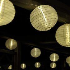 Catena luminosa a lampioni con 15 lampioni LED Ø 15 cm, bianco, per giardino