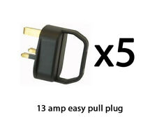 Easy Pull Mains Plug Top X5 13 Amp Fused Arthritis Disability Elderly Black