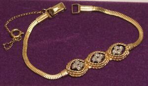 Lenox 10K Gold Filled Diamond Bracelet with Safety Guard Chain