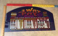 "Bally ""3 Way Pay"" Slot Machine Glass Topper FAST FREE SHIP!! ULJ-12"