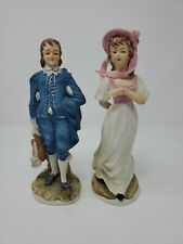 Vtg Lefton Blue Boy & Pinkie Figurines Hand Painted Limited Edition w Foil Label