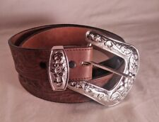 3d Brand Women's 34 Leather Belt Tooled Floral Big Buckle Cow Girl Dark Brown