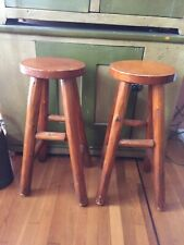 Pair of Rustic Vintage Log Stool Stand Lodge Cabin Furniture
