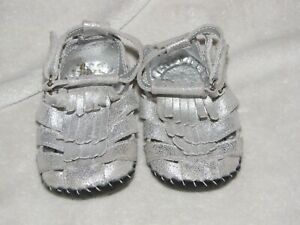 BABY TODDLER GIRL SILVER GLITTERY FRINGE GLADIATOR SANDALS SHOES 12-18 PEDIPED