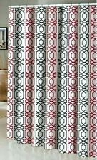 New Fabric Shower Curtain White Red Black Geometric Urban Pattern