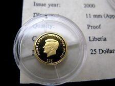 World's Smallest Gold Coin, Liberia Mini Gold 24K Pure Gold Coins .73 Gram &COA.