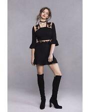 FOR LOVE&LEMONS (S) LILOU BLACK/NUDE RAYON CREPE FLIRTY MINI DRESS NWT MSRP $215