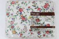 Vintage NOS JCPenney Percale Floral Print Saybrook Full Flat Top Sheet New USA