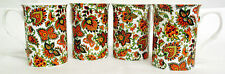 Paisley Mugs Set of 4 Fine Bone China Orange Paisley Mugs Hand Decorated in UK