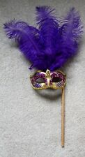 PURPLE & GOLD FEATHER HAND HELD MASK & STICK VENETIAN CARNIVAL MASQUERADE PARTY