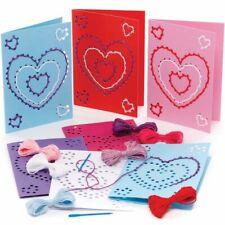 HEART Threading CARD KITS Kids Valentine Craft Needlecraft Cross Stitch Activity