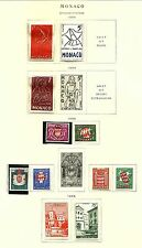 MONACO  MLH & MNH 1954  ALBUM PAGE STAMPS  S-2389