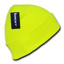 Neon Yellow Knit Cuff Beanie Hat Skull Snowboard Winter Warm Ski Hats Beanies