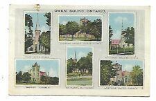 """Grey County - """"Owen Sound, ON"""" - Multi View Postcard showing local churches"""