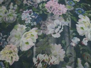 Designers Guild Fabric 'DELFT FLOWER' GRAPHITE 100% Linen Tulipa Stellata