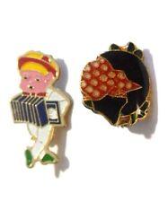 lot deux broches bijou vintage rétro émail couleur accordéoniste couleur or 85