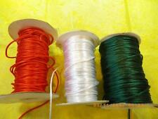 5 Yards Green, White, Red RATTAIL RAT TAIL SATIN CORD 1/16 - 2mm U Choose Color