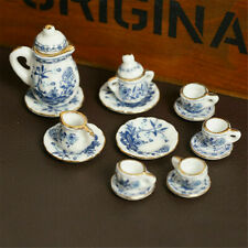 15Pcs Dining Ware Ceramic Blue Flower Set For 1:12 Miniatures Dollhouse A2X8 US