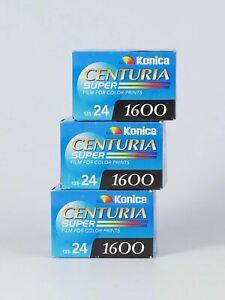Pack of 3 KONICA CENTURIA SUPER 1600 24 Exp. Color 35mm Film, Expired 02.2005