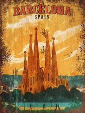 Barcelona Travel Advertisement Retro Vintage style Metal Sign Wall Plaque Art