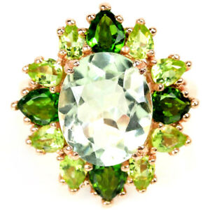REAL GREEN AMETHYST CHROME DIOPSIDE & PERIDOT STERLING 925 SILVER RING 7.25