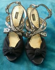 MIMCO Leather Black Animal Snakeskin Platform Stilletos High Heels Size 41