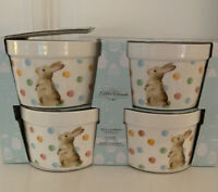 EASTER RAMEKINS Multi Color Polka Dot Bunny Rabbit SET 4 NEW