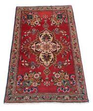 TABRIZ 139 x 77 cm grana fine Annodato Tappeto orientale persiano FLORAL ROSSO