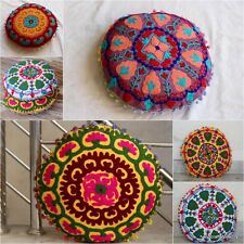 100 pcs lot Round Pouf Suzani Embroidered Cushion Cover Pillow Cover Wholesale