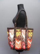Tory Burch Brown Red Yellow Geometric Print Studded Bag With Inside Pocket B3977