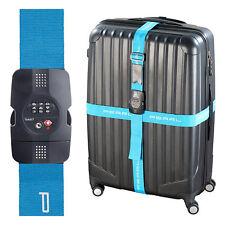 Kofferband: TSA-zertifizierter Kreuz-Koffergurt mit Zahlenschloss, 5 x 400 cm