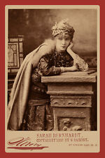 Actress SARAH BERNHARDT 1870 Vintage Photograph A++ Reprint Cabinet Card