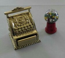 Dollhouse Miniature  Old Time Store Cash Register & Counter Gumball Machine 1:12