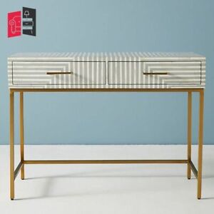 Handmade Bone Inlay Stripe Design 2 Drawers Console Table Grey (MADE TO ORDER