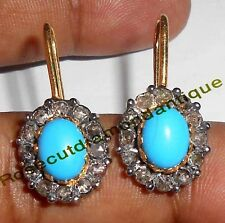 HANDMADE 1.06ct ANTIQUE ROSE CUT DIAMOND SILVER 925 TURQUOISE VICTORIAN EARRINGS