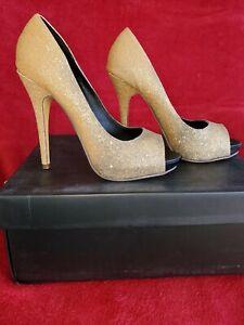 """JustFab """"Henriette"""" Shoe High Heel Platform Pump Stiletto Glitter Gold Sz 6"""