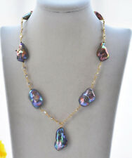 "P7006 17"" 30mm Peacock-Black Baroque Reborn Keshi Pearl Necklace Pendant"