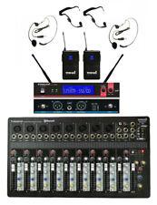 Staraudio 10Ch Usb Pa Mp3 Bluetooth Mixer 2 Channel Wireless Headset Microphones