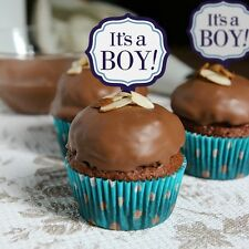 "24 X ""IT'S A BOY"" CUPCAKE/CAKE TOPPER PICKS / BLUE/WHITE"