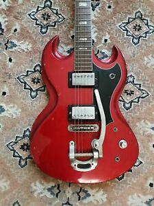 Ancienne Guitare électrique rouge randay style AC/DC vintage année 70-80