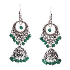 Traditional Silver Plated Oxidized Jhumka Jhumki Green Second Design Earrings #G